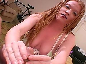 Stunning Cougar With Natural Tits Providing Her Boy Handjob