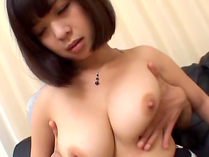 Huge-titted Asian stunner is fucked foolish by this man's thick hard-on