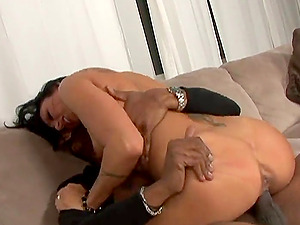 Zoey Holloway licks Sean Michaels's black nut sack and lets him fuck her