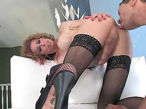 Stud Fucks Mature Shemale Bitch In Caboose And Cums In Her Mouth