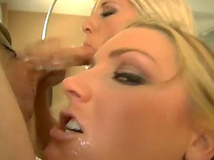 Two whores interchanging spunk after face fucking in FFM Point of view threesome