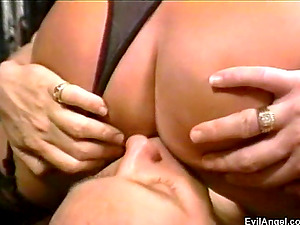 Lingerie-clad blonde with a hairy vulva luving an awesome FFM threesome