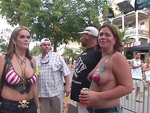 Curvy Fetish Bi-otches Get Messy Showcasing Their Tits In Public