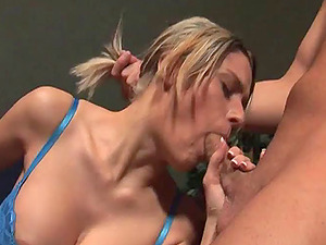 Doll With Big Tits In Hooter-sling Providing A Massive Dick Fellatio