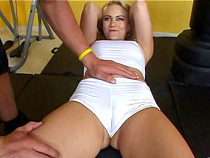 Marvelous Blonde With Diminutive Tits Pinned In The Gym