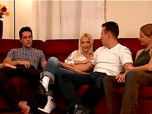 Pleasant Cowgirl In Jeans Drinks Jism In A Group Fuck-a-thon