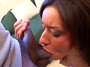 Trixie Cas treats hard-on a hard-core point of view suck off in interracial fuck scene