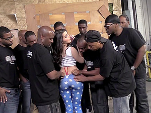Horny Dark-haired Gets Gang-fucked in An Interracial Jizz flow