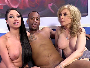 Nina Hartley and Raven Bay give an interview in backstage vid
