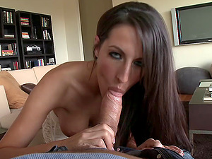 Black-haired chick with big faux tits sucking a stranger's jizz-shotgun and pouch