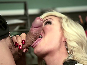 Depraved ash-blonde instructor Diamond Foxxx rails a wang at her work place