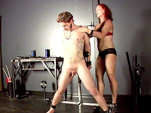 Catherine Desade tantalizes fellow in restrain bondage before ball busting him