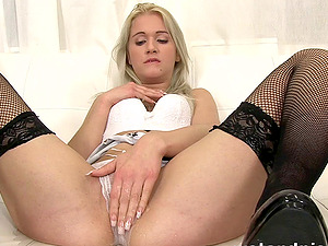 Hot blonde bitch does piss drinking out of her high stilettos and uses playthings