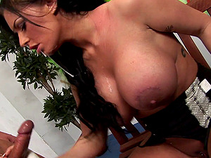 Sexy and lovely pornography sweetie Kerry Louise treats hard-on a hot and nasty suck off