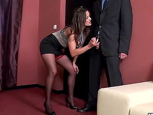 Horny Manager Valentina Cruz in High Stilettos and Stockings Fucking in the Office