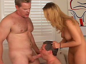 Bisexual cheating blows a man for his wifey and gobbles up his jizz