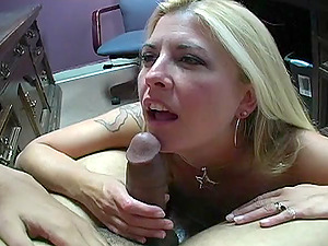 Tattooed blonde with big titties slurping and sucking a stranger's penis