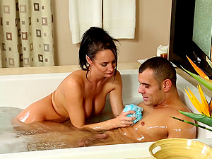 This sexy masseuse gives a nuru rubdown then rails his jizz-shotgun