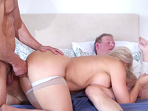 A stud and his assets dual penetrate this boy's wifey
