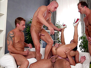 Four guys gang-bang a bombshell and fuck all her fuck holes at once