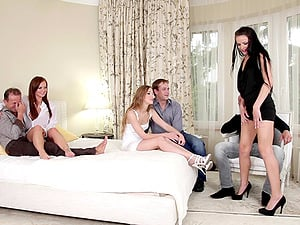 Building soiree goes to the bedroom for a wild Euro orgy