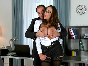 Hot office tart with big natural tits bangs an employee