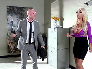 This stacked blonde's tits sway as he fucks her in the office