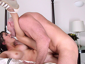 A sexy corporal therapist gives her patient some labia