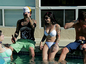 A tattooed honies meets a stud a pool soiree and concludes up fucking him