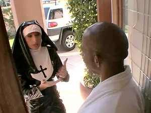 Purple haired nun in a spandex attire gets fucked by a draped black dude