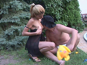 Nappy wearing gimp gets his arse pegged by his mistress