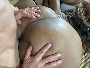 He likes big, black women and fucks them both then cums in their throats