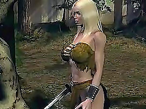 Animated Blonde Stunner With Her Sword