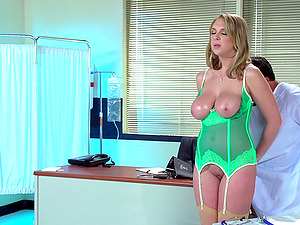 Physician stunner wears undergarments under her work clothes and loves to fuck
