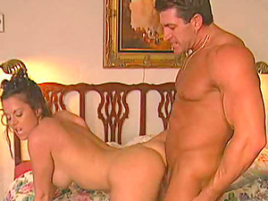 Impressively attractive brown-haired shows this stud a good time