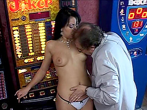 After loosing his money on the slot machine, he gets a consolation