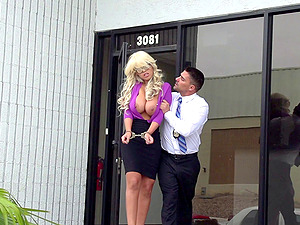 Stunning blonde adult movie star Bridgette penetrated hard doggystyle