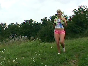An old fart screws a delightful blonde teenager outdoors