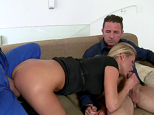 Her bf and the plumber share this sex-positive blonde
