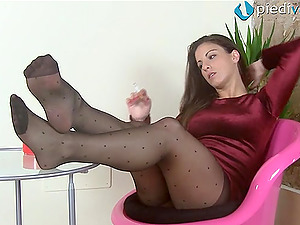 Foot obsessed model Thena takes off her high stilettos and shows her feet