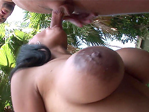 Her big tits and big nips wiggle as she gets hammered