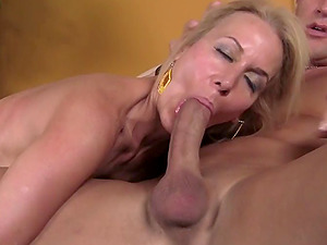 Sassy blonde Cougar yearning for more as she gets pounded doggystyle