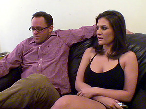 Charming wifey exhilarates her hubby with a voluptuous gargle then rail on the hard penis rough