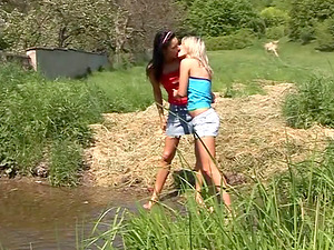 Nature loving muff diving teenagers have wild fuck-a-thon outdoors