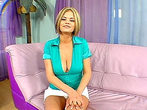 Big-boobed stunner Nikki gets her tits oiled and her cootchie fucked hard
