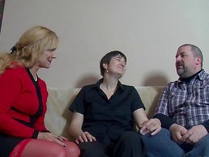 German mature duo invites a granny for a salacious threesome