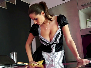 Buxom French maid deepthroats his dick and takes him in her cunt