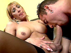 Lengthy haired shemale gets her ass-fuck banged gonzo before screwing her fellow too