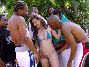 At the end of a soiree a milky female is fucked and jizzed on by black guys