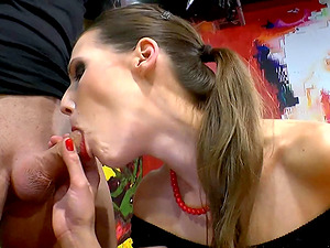 He pulls out of her trimmed snatch and cums in her moist mouth